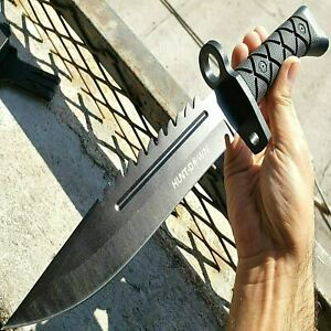 13.5 Military Black Tactical Survival FIXED BLADE HUNTING Bowie KNIFE w SHEATH