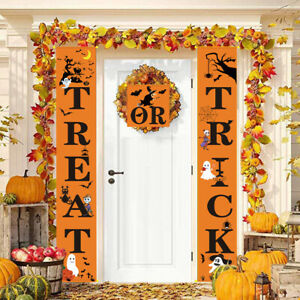 3PCS Halloween Decorations Trick or Treat Banner Party Wall Door Hanging Sign US