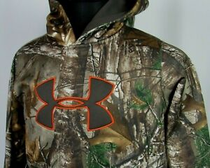 Boy's Under Armour Cold Gear RealTree Camo 100% Polyester Hoodie Youth XL