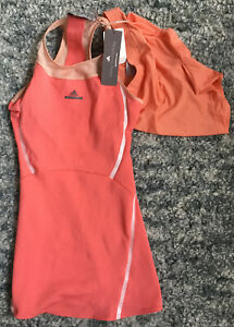 New Adidas Women's Stella McCartney Australia Barricade Tennis Dress Sz M Coral