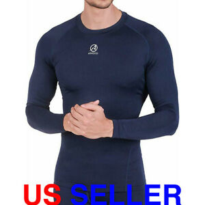 ARMEDES Mens Long Sleeve T Shirt Baselayer Cool Dry Compression Top AR 141 $10.99