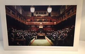 Official 2009 Banksy Monkey Parliament LithographPoster Devolved 100% Authentic