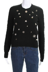 Chanel  Womens 2018 Charm Embellished Crew Neck Sweater Black Size 34