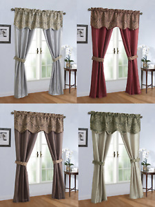 Complete 5 Pc. Sheer Window in a Bag Curtain amp; Valance Set Assorted Colors