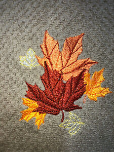 Embroidered Beige Kitchen Hand Towel Fall Leaves- Colorful Thanksgiving BS1757