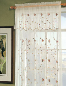 Creative Linens Embroidered Lace Roses Floral Window Curtain Panel Beige 1 Piece
