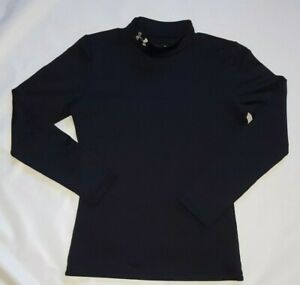 Under Armour girls Coldgear Black Armour Mock Top size Youth Large $24.99