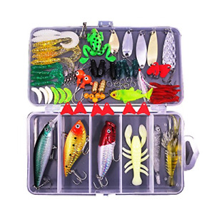 Fishing Lures Kit Set For Bass Trout Salmon Including Spoon Lures Soft Plastic