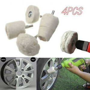 4Pcs White Cotton Pad Polishing Buffing Wheel Rims Car Motorcycle Kit For Drill
