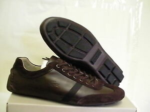 Lacoste berryman srm lth casual shoes leather dark brown size 10 us new
