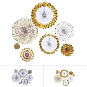 8 pcs Assorted Paper Fans Wall Backdrop Wedding Decorations Party Event Supplies