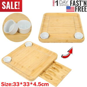 Bamboo Cheese Board with 2 Cups Set Knife Cutting Cutlery Tray