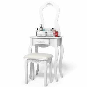 White Vanity Table With Mirror & Stool Set 3 Drawer Bedroom Makeup Desk Girls