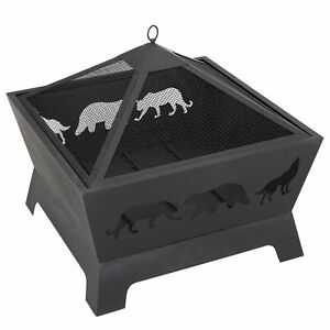 26quot; Outdoor Fire Pit Steel Square Wood Burning BBQ Patio Yard W Rain Coveramp;Poker $74.99