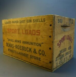 Antique Small Arms Ammunition Sport Loads Sears-Roebuck Wood Box Crate