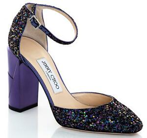 JIMMY CHOO Mabel 95 Block Heel Glitter Shoes