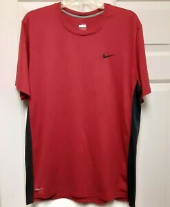 Nike Fit Dry Mens Short Sleeve Red Black Athletic Size XL Shirt Free Shipping