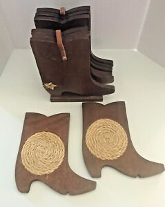 Set Of 6 Vintage Coasters Western Cowboy Boots Wooden Leather Straps Texas Style