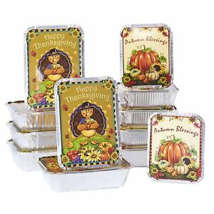 Aluminum Food Containers for Thanksgiving, Halloween, Autumn - Set of 12