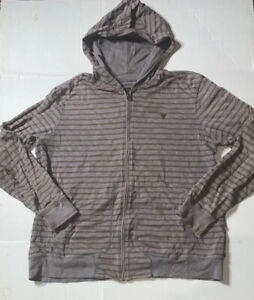 Preowned Guess Front Zip Long Sleeve Striped Hoodie Mens Size 2XL $36.00