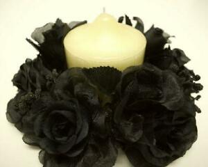 2 BLACK Candle Rings Roses Center Pieces Artificial Silk Flowers 3quot; 4005 BK