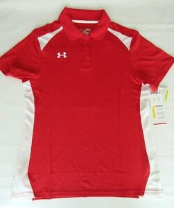 New Under Armour Team Polo Shirt Red White 1243998 Women's Medium XL  $55