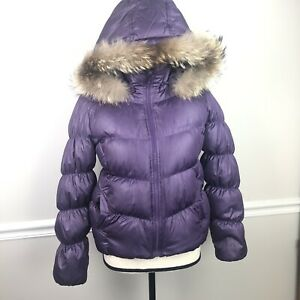 The Best Jeans Girls Puffer Down Jacket Real Fur Trim Coat With Hood Size 13 14