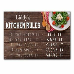 Liddy's Kitchen Rules - Glass Cutting Board / Worktop Saver - Gift For Liddy - I