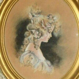 ANTIQUE VICTORIAN SIGNED LADY PORTRAIT WATERCOLOR PAINTING ROSE GARLAND FRAME