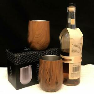 Stainless Steel Whiskey Wood/Black Tumbler, Two Glasses - FREE SHIPPING