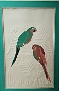 Vintage JONNA WHITE Polychrome Lithograph with Embossing Parrots 119500