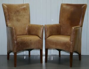 PAIR OF VINTAGE AGED DISTRESSED BROWN LEATHER HIGH BACK CHAIRS COMPACT DESIGN