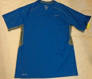 NWOT NIKE DRI FIT RUN BASE LAYER SS SHIRTLG LOOSE MENROYAL BLUEGRAYEXCELLEN