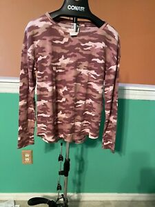 NWT Victorias Secret Long Sleeve Pink Camouflage Shirt Size L