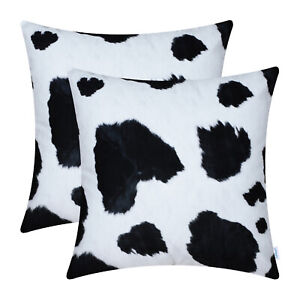 2Pcs Cow Animal Skin Cushion Covers Pillows Shells Home Couch Bed Decor 18 x 18