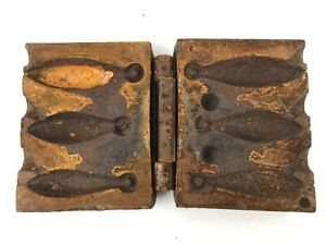 Antique heavy cast iron fishing sinker mold with lead Pour your own sinkers Bank
