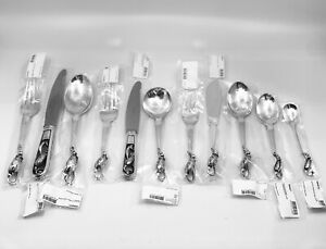 Extensive Set of Georg Jensen Blossom/Magnolia Sterling Silverware
