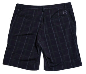 UNDER ARMOUR Casual Golf Shorts Black Plaid Size 38