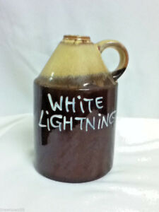 Vintage quot;White Lightningquot; glass ceramic jug old moon shine boot legger LH4 $15.40