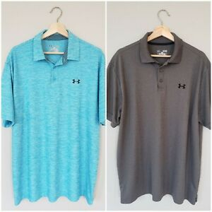 Under Armour Heat Gear Mens Golf Polo Shirt XL Blue Gray Loose Lot of 2