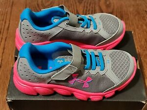 UA Under Armour Girls Assert 6 Sneakers Athletic Shoes Size 13K Gray Pink NIB