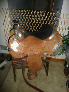 Circle Y Western Show Saddle 16- 16.5 in seat good conditionwith Bridle BC SET