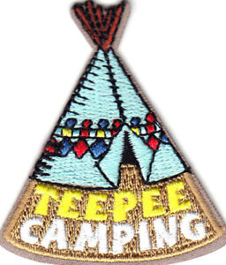 TEEPEE CAMPING Iron On Patch Camping Scouts Girl Boy Cub