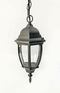 CORAMDEO Small Curved Hex Pendant Mount LED Lantern for Porch 75W Black $34.99