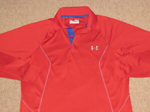 Under Armour Mens Red Athletic Polo Collared Golf & Tennis Jersey Shirt S small