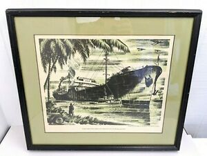 Vtg PGE Lithograph Tanker Built By Swan Island WWII War Workers by R.B. Rogers