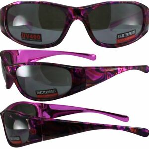 Kaleidoscope Motorcycle Glasses Pink Psychedelic Frames amp; Flash Mirror Lens