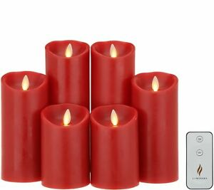 Luminara 6-Piece Assorted Pillar Decorator Set With Remote - RED