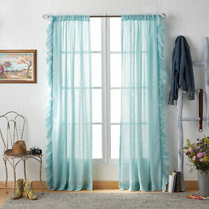 The Pioneer Woman Chambray Ruffle Pole Top Curtain Panel - NEW - One Panel