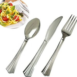 108x DISPOSABLE FORKS KNIVES SPOONS Wedding Birthday Party Metallic Tableware